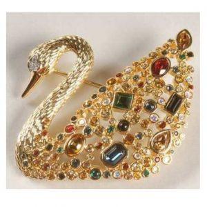 SWAROVSKI-swan-gold-brooch