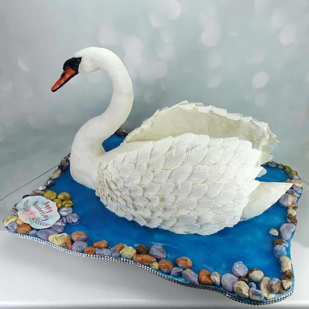 how-to-make-swan-themed-cake-at-home